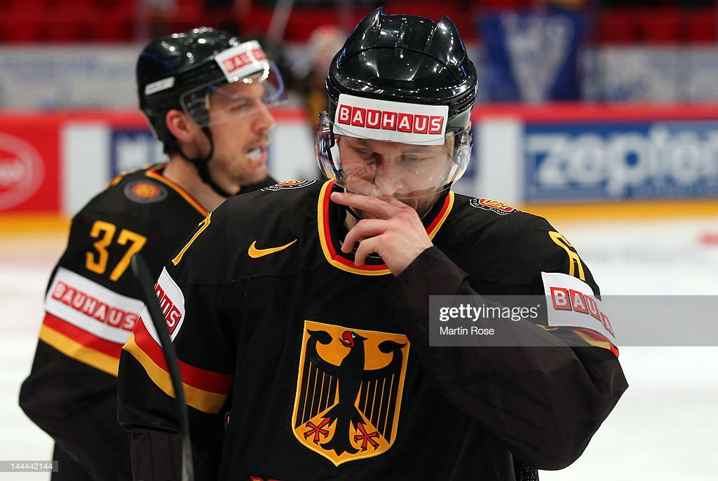 Sebastian Furchner of Germany looks dejected during the IIHF World Championship group S match between Germany and Norway at Ericsson Globe on May 13, 2012 in Stockholm, Sweden.