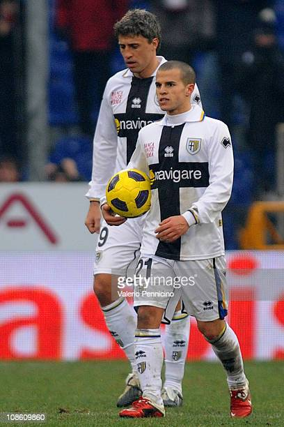 Sebastian Giovinco and Hernan Crespo of Parma FC show their dejection during the Serie A match between Genoa CFC and Parma FC at Stadio Luigi...