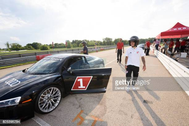 Sebastian Giovinco attends as Audi hits the track with Major League Soccer AllStar players ahead of MLS AllStar Game in Chicago at Autobahn Country...