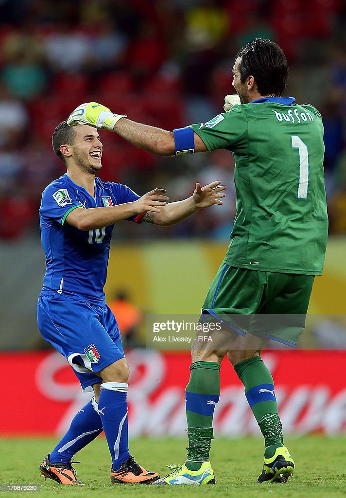 Sebastian Giovinco of Italy celebrates scoring his team's fourth goal to make the score 4-3 with team-mate Gianluigi Buffon during the FIFA Confederations Cup Brazil 2013 Group A match between Italy and Japan at Arena Pernambuco on June 19, 2013 in Recife, Brazil.
