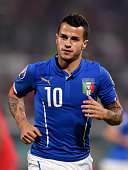 Sebastian Giovinco of Italy during the EURO 2016 Group H Qualifier match between Italy and Azerbaijan at Stadio Renzo Barbera on October 10 2014 in...