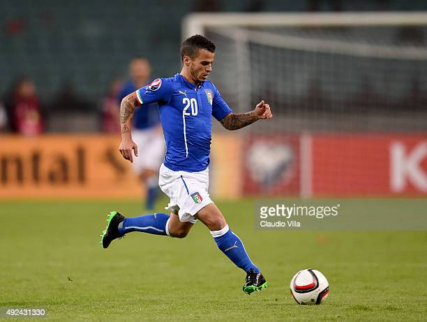 Sebastian Giovinco of Italy in action during the UEFA Euro 2016 qualifying football match between Azerbaijan and Italy at Olympic Stadium on October...