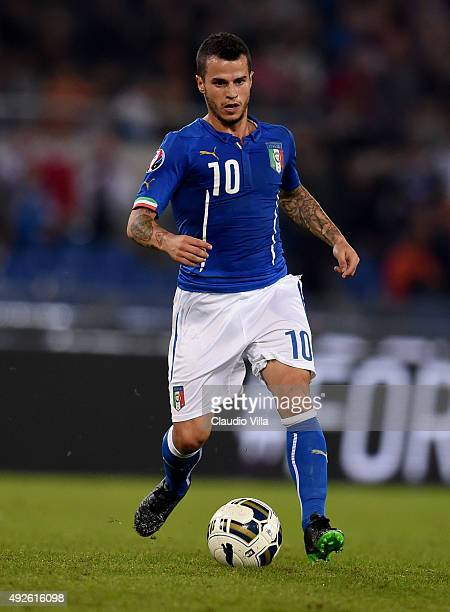 Sebastian Giovinco of Italy in action during the UEFA EURO 2016 Qualifier between Italy and Norway at Olimpico Stadium on October 13 2015 in Rome...