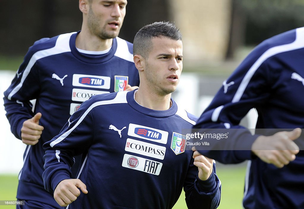 <a gi-track='captionPersonalityLinkClicked' href=/galleries/search?phrase=Sebastian+Giovinco&family=editorial&specificpeople=4284715 ng-click='$event.stopPropagation()'>Sebastian Giovinco</a> of Italy runs during a training session at Coverciano on March 24, 2013 in Florence, Italy.