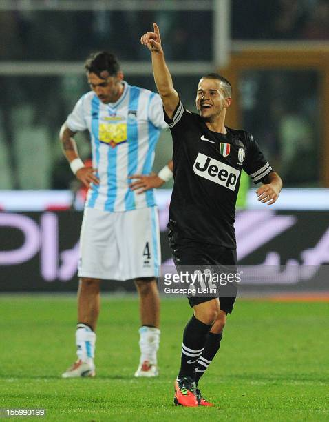 Sebastian Giovinco of Juventus celebrates after scoring the goal 14 during the Serie A match between Pescara and Juventus FC at Adriatico Stadium on...