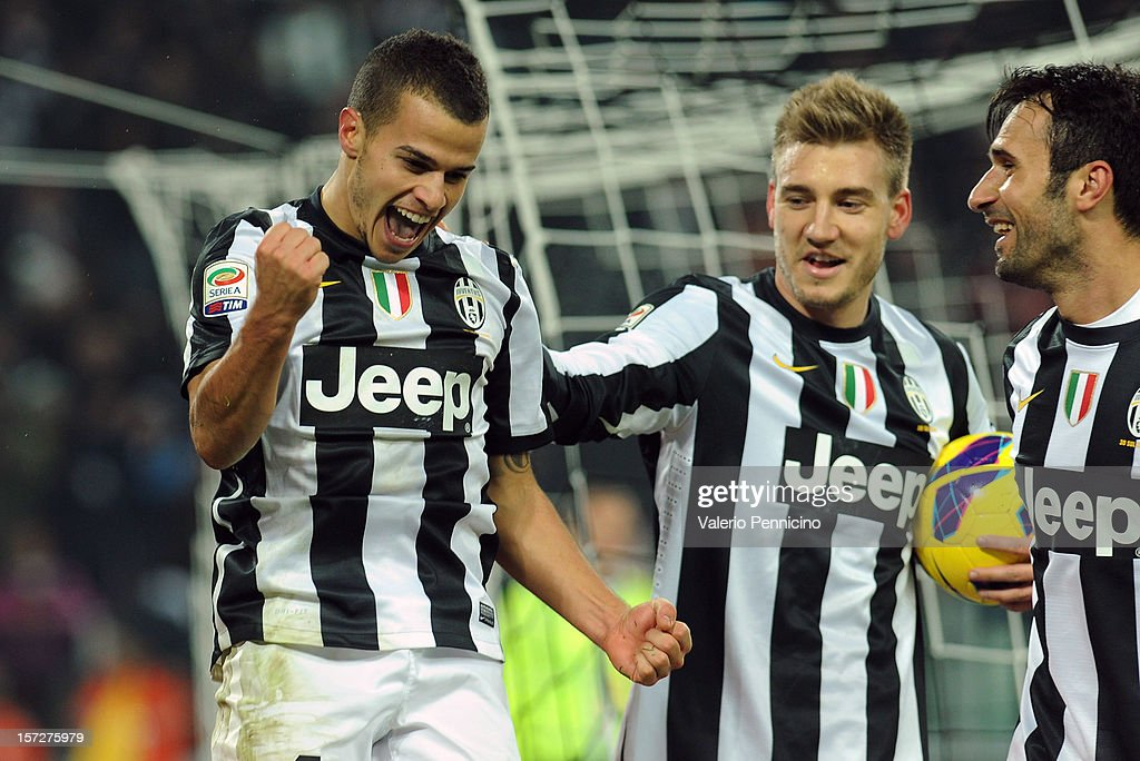 Sebastian Giovinco (L) of Juventus celebrates his goal during the Serie A match between Juventus and Torino FC at Juventus Arena on December 1, 2012 in Turin, Italy.