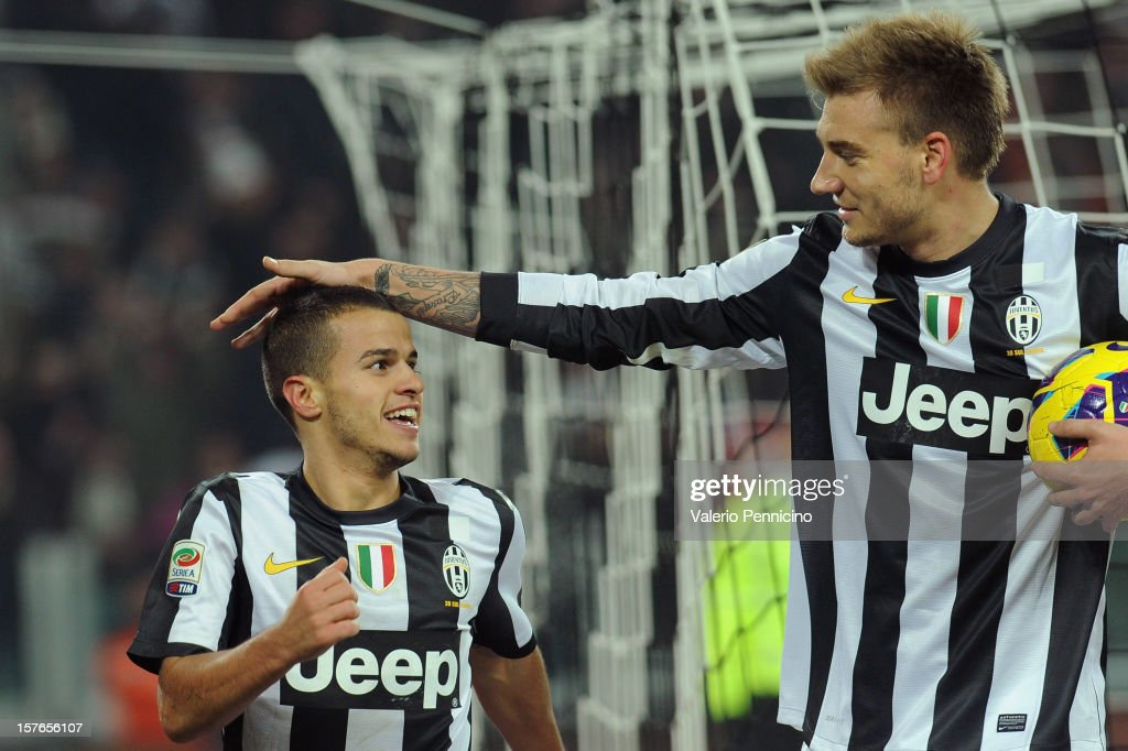 Sebastian Giovinco (L) of Juventus celebrates his goal with team-mates Nicklas Bendtner during the Serie A match between Juventus and Torino FC at Juventus Arena on December 1, 2012 in Turin, Italy.