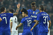 Sebastian Giovinco of Juventus FC celebrates after scoring his second goal with team mate Paul Pogba during the TIM Cup match between Juventus FC and...