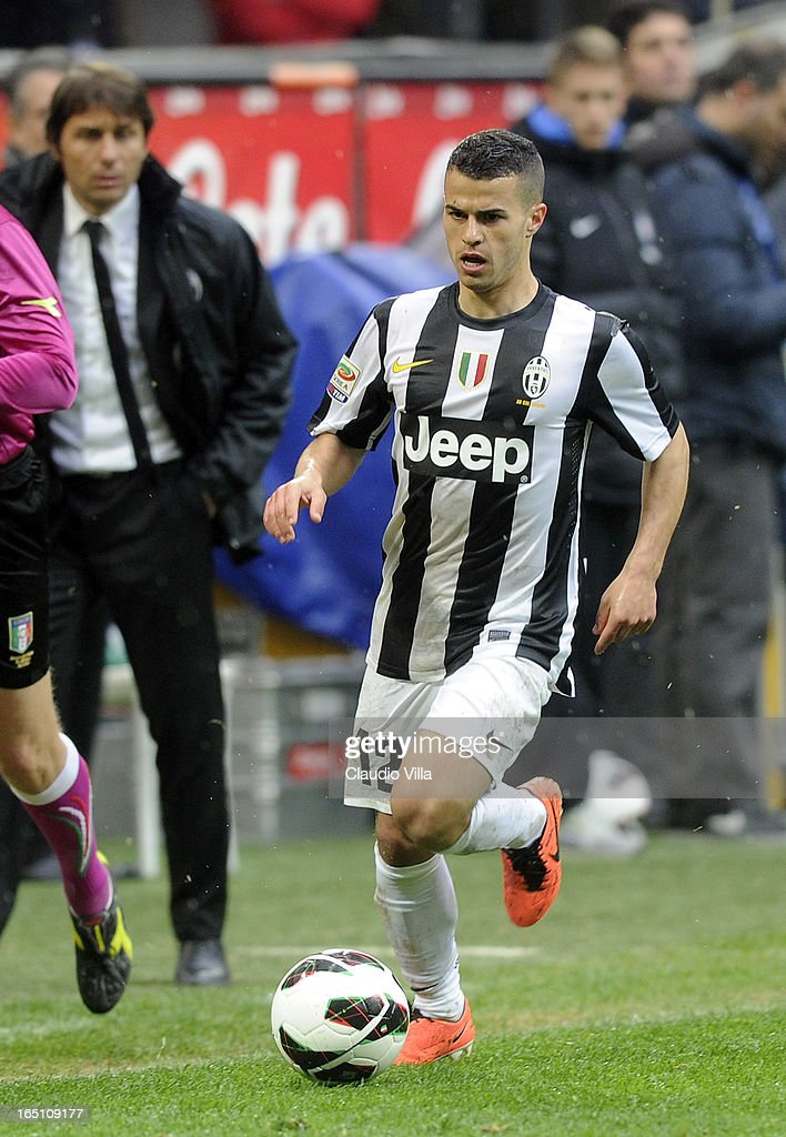 Sebastian Giovinco of Juventus FC in action during the Serie A match between FC Internazionale Milano and Juventus FC at San Siro Stadium on March 30, 2013 in Milan, Italy.