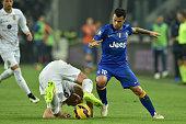 Sebastian Giovinco of Juventus FC tackles Frederik Sorensen of Hellas Verona FC during the TIM Cup match between Juventus FC and Hellas Verona FC at...
