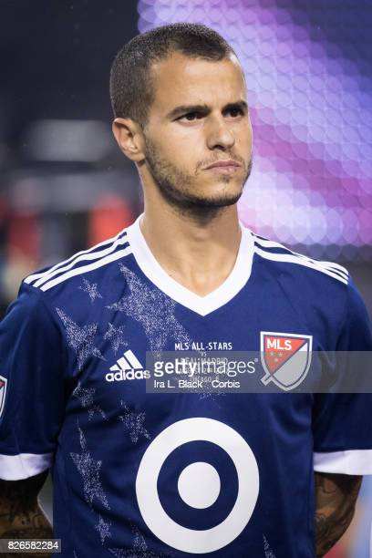 Sebastian Giovinco of the MLS AllStar at the line up at the start of the MLS AllStar match between the MLS AllStars and Real Madrid at the Soldier...