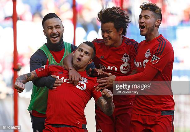 Sebastian Giovinco of Toronto FC celebrates his goal against the New York Red Bulls during their match at Red Bull Arena on March 6 2016 in Harrison...