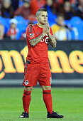 Sebastian Giovinco of Toronto FC comes close to a goal during the first half of an MLS soccer game against FC Dallas at BMO Field on May 7 2016 in...