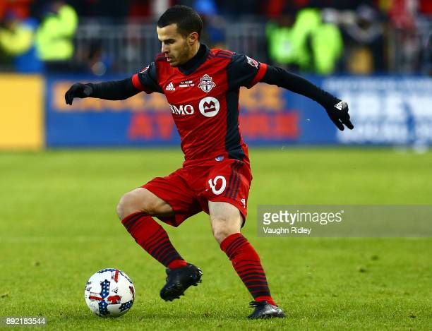 Sebastian Giovinco of Toronto FC dribbles the ball during the 2017 MLS Cup Final against the Seattle Sounders at BMO Field on December 9 2017 in...
