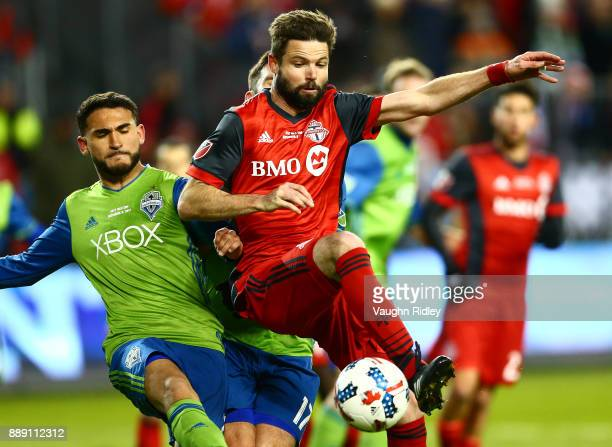 Sebastian Giovinco of Toronto FC dribbles the ball during the first half of the 2017 MLS Cup Final against the Seattle Sounders at BMO Field on...
