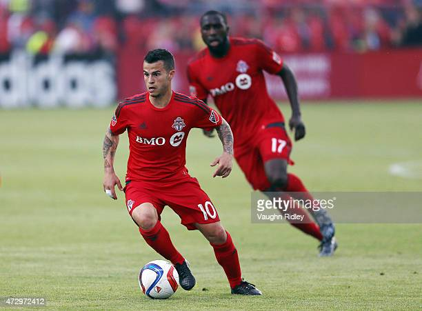 Sebastian Giovinco of Toronto FC during an MLS soccer game against the Houston Dynamo at BMO Field on May 10 2015 in Toronto Ontario Canada