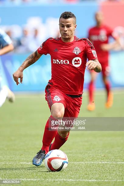 Sebastian Giovinco of Toronto FC during the MLS match between Toronto FC and New York City FC at Yankee Stadium on July 12 2015 in New York City