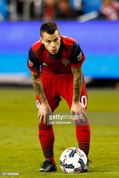 Sebastian Giovinco of Toronto FC gets set to take a free kick against the Chicago Fire in the second half at an MLS Soccer regular season game...