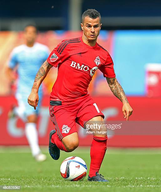 Sebastian Giovinco of Toronto FC in action against the New York City FC during a soccer game at Yankee Stadium on July 12 2015 in the Bronx borough...