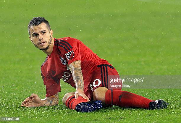Sebastian Giovinco of Toronto FC injures his calf during the second half of the MLS Eastern Conference Final Leg 2 game against Montreal Impact at...