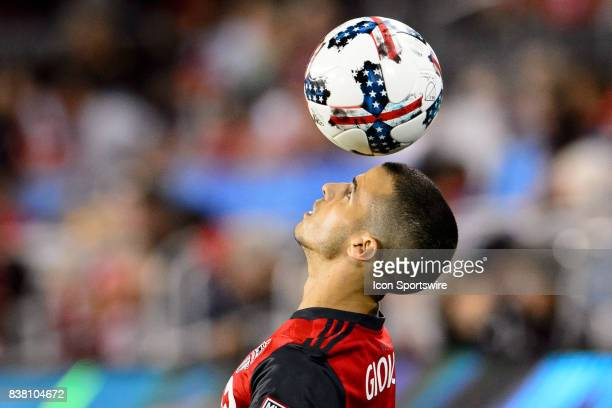 Sebastian Giovinco of Toronto FC juggles the ball during the second half of the MLS Soccer regular season game between Toronto FC and Philadelphia...