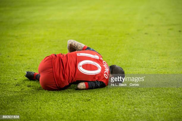 Sebastian Giovinco of Toronto FC lies down on the pitch after a hit during the 2017 Audi MLS Championship Cup match between Toronto FC and Seattle...