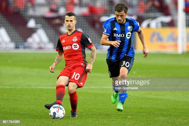 Sebastian Giovinco of Toronto FC passes the ball during the first half of the MLS Soccer regular season game between Toronto FC and Montreal Impact...