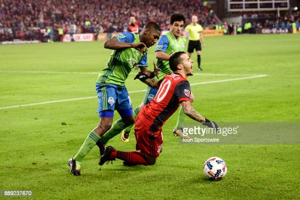 Sebastian Giovinco of Toronto FC reacts after being fouled by Kelvin Leerdam of Seattle Sounders FC during the 2017 MLS Cup Final between Toronto FC...