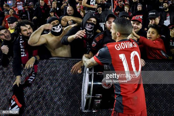 Sebastian Giovinco of Toronto FC shakes hands with fans after the MLS Soccer regular season game between Toronto FC and Montreal Impact on October 15...