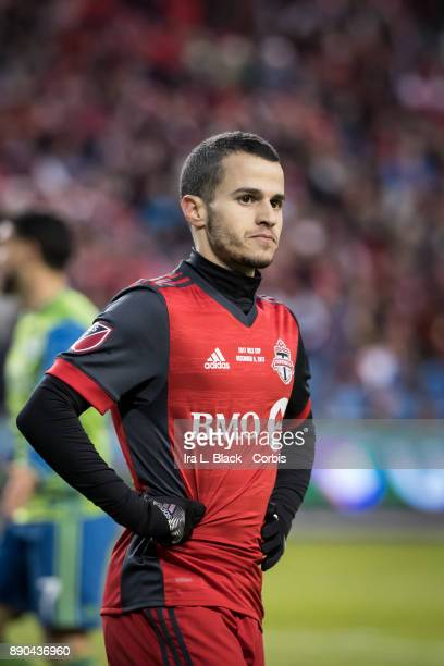 Sebastian Giovinco of Toronto FC shows his frustration at the missed shot on goal during the 2017 Audi MLS Championship Cup match between Toronto FC...