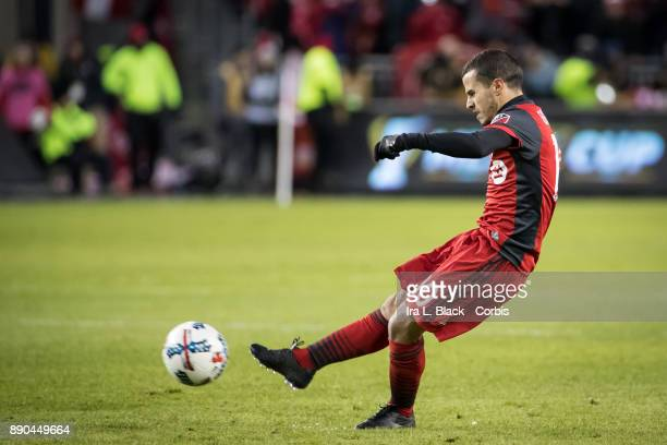 Sebastian Giovinco of Toronto FC takes a penalty kick during the 2017 Audi MLS Championship Cup match between Toronto FC and Seattle Sounders FC at...