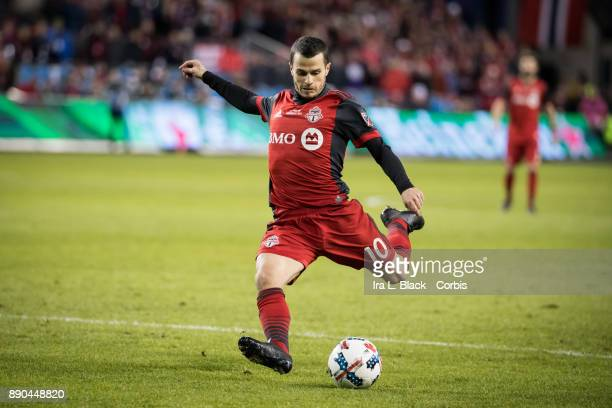 Sebastian Giovinco of Toronto FC takes a shot on goal during the 2017 Audi MLS Championship Cup match between Toronto FC and Seattle Sounders FC at...