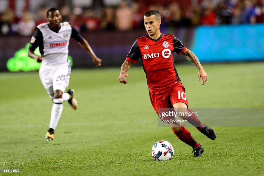 Sebastian Giovinco (10) of Toronto FC with the ball during the second half of the MLS Soccer regular season game between Toronto FC and Philadelphia Union on August 23, 2017, at BMO Field in Toronto, ON, Canada.