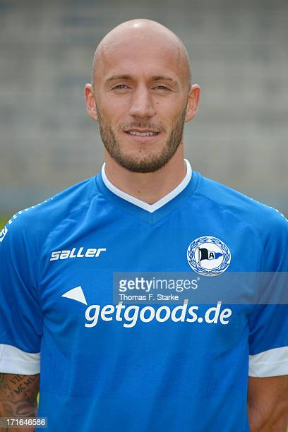 Sebastian Glasner poses during the Second Bundesliga team presentation of Arminia Bielefeld at Schueco Arena on June 27 2013 in Bielefeld Germany