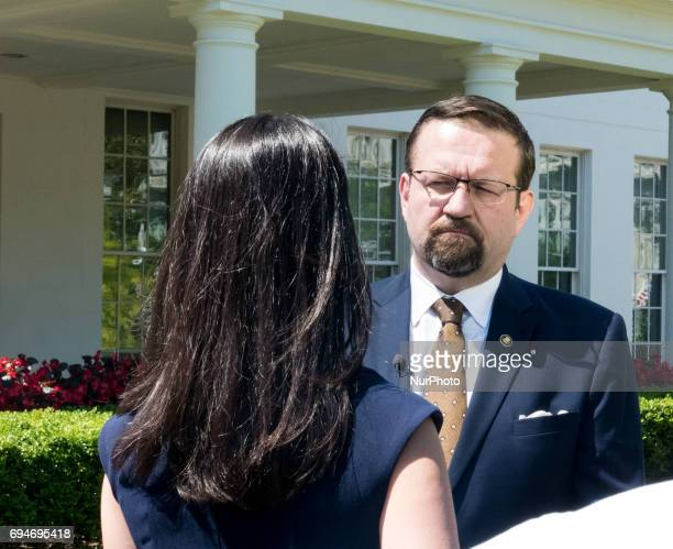 Sebastian Gorka Deputy Assistant to President Donald Trump is interviewd outsside of the West Wing Portico of the White House on Friday June 9 2017