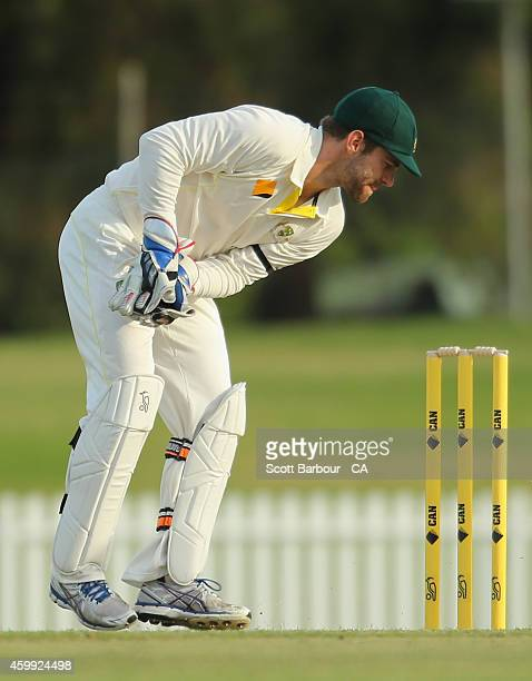 Sebastian Gotch of the the Cricket Australia XI wicketkeeps during the international tour match between the Cricket Australia XI and India at...