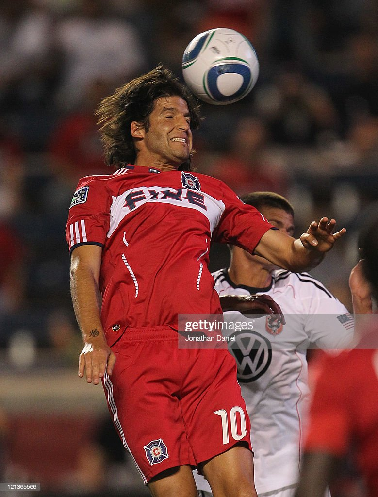 Sebastian Grazzini of the Chicago Fire attempts a head shot against DC United during an MLS match at Toyota Park on August 18 2011 in Bridgeview...