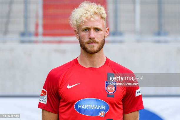 Sebastian Griesbeck of 1 FC Heidenheim poses during the team presentation at Voith Arena on July 8 2017 in Heidenheim Germany