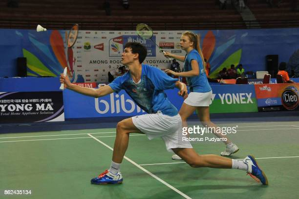 Sebastian Gronbjerg and Freja Ravn of Denmark compete against Julien Scheiwiller and Jenjira Stadelmann of Switzerland during Mixed Double...