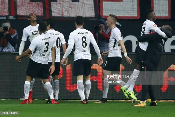 Sebastian Haller of Frankfurt celebrates his team's second goal with team mates during the Bundesliga match between Eintracht Frankfurt and SV Werder...