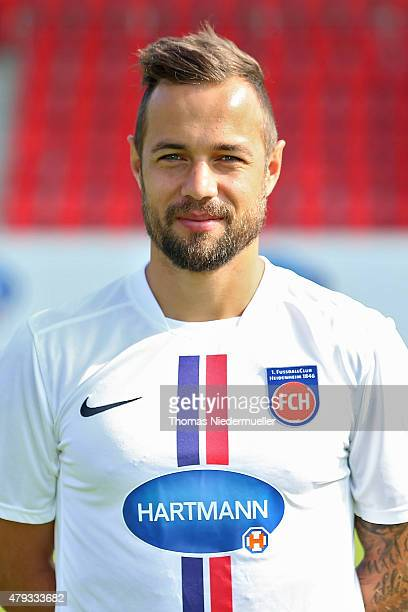 Sebastian Heidinger poses during the 1 FC Heidenheim team presentation at VoithArena on July 3 2015 in Heidenheim Germany