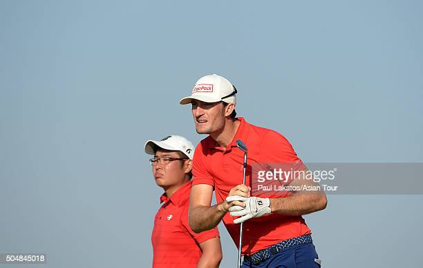 Sebastian Heisele of Germany in action during the Asian Tour Qualifying School Final Stage at Imperial Lakeview Golf Club on January 14 2016 in Hua...