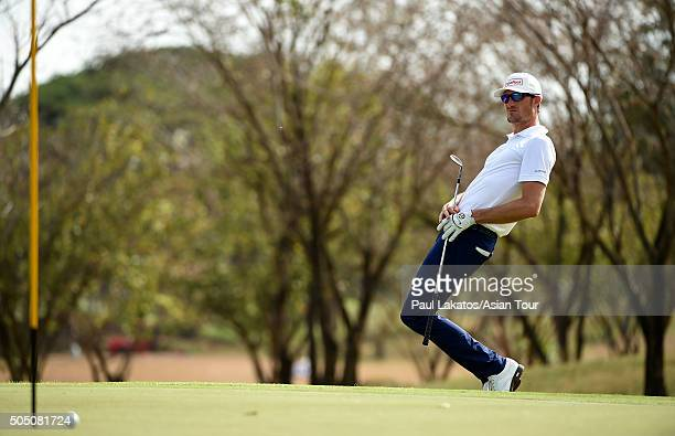 Sebastian Heisele of Germany in action during the Asian Tour Qualifying School Final Stage at Springfield Royal Country Club on January 15 2016 in...