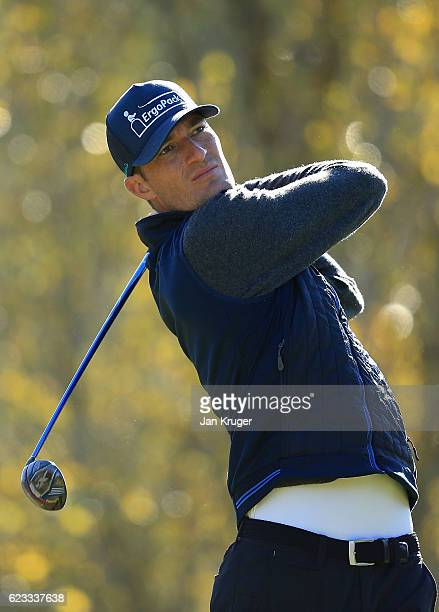 Sebastian Heisele of Germany in action during the fourth round of the European Tour qualifying school final stage at PGA Catalunya Resort on November...
