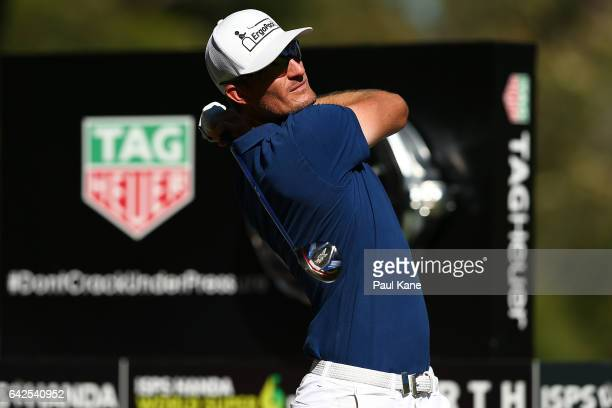 Sebastian Heisele of Germany plays his tee shot on the 18th hole during round three of ISPS HANDA World Super 6 Perth at Lake Karrinyup Country Club...