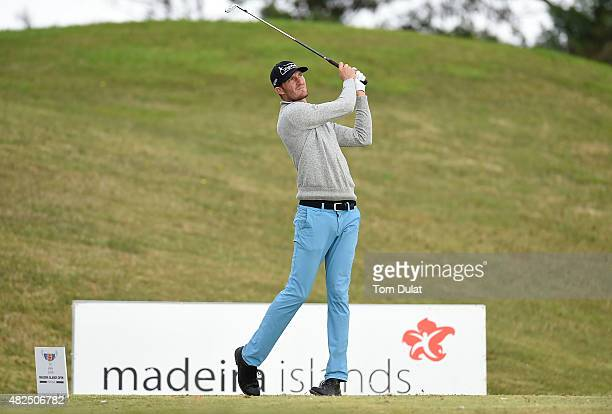 Sebastian Heisele of Germany tees off from the 4th hole during day two of the Madeira Islands Open Portugal BPI at Club de Golf do Santo da Serra on...