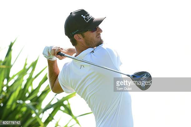 Sebastian Heisele of Germany tees off on the 1st hole during day two of the NBO Golf Classic Grand Final at Al Mouj Golf on November 3 2016 in Muscat...