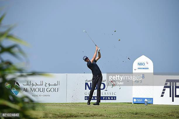 Sebastian Heisele of Germany tees off on the 8th hole during day three of the NBO Golf Classic Grand Final at Al Mouj Golf on November 4 2016 in...