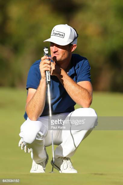 Sebastian Heisele of Germany waits to putt the 18th green in a final place in the final 24 during round three of ISPS HANDA World Super 6 Perth at...
