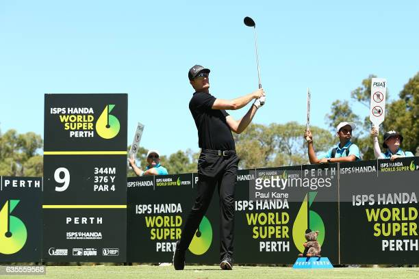 Sebastian Heisele of Germany watches his tee shot on the 9th hole during round one of the ISPS HANDA World Super 6 at Lake Karrinyup Country Club on...